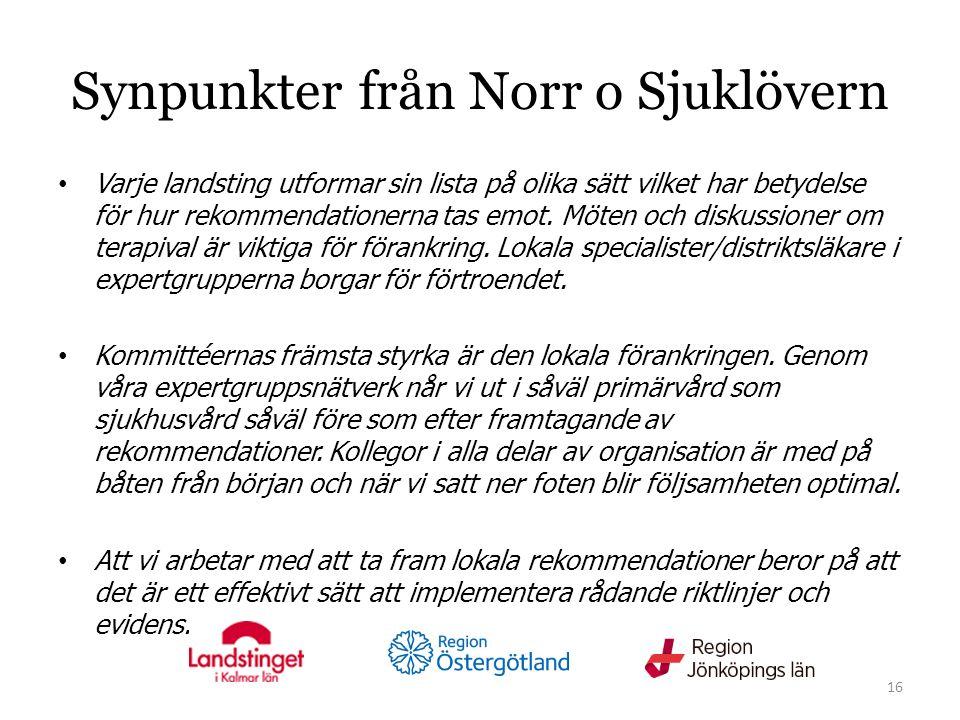 Synpunkter från Norr o Sjuklövern Varje landsting utformar sin lista på olika sätt vilket har betydelse för hur rekommendationerna tas emot.