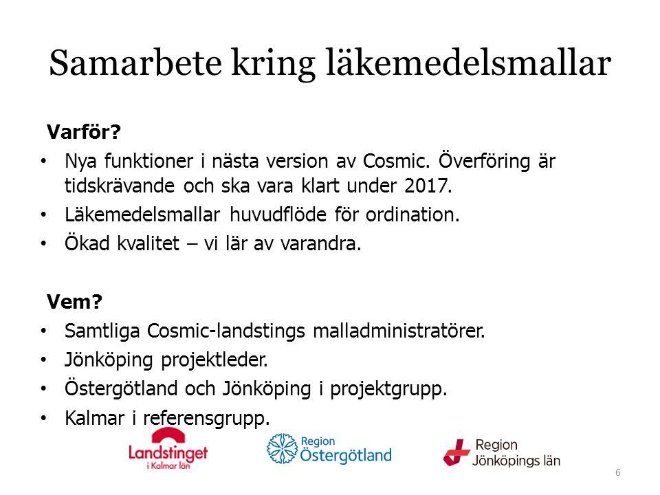 Samarbete kring läkemedelsmallar Varför. Nya funktioner i nästa version av Cosmic.