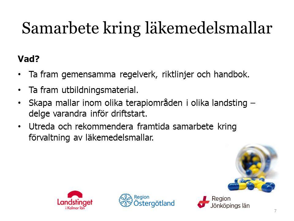 Samarbete kring läkemedelsmallar Vad. Ta fram gemensamma regelverk, riktlinjer och handbok.