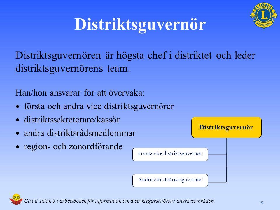 Distriktsguvernör Distriktsguvernören är högsta chef i distriktet och leder distriktsguvernörens team.
