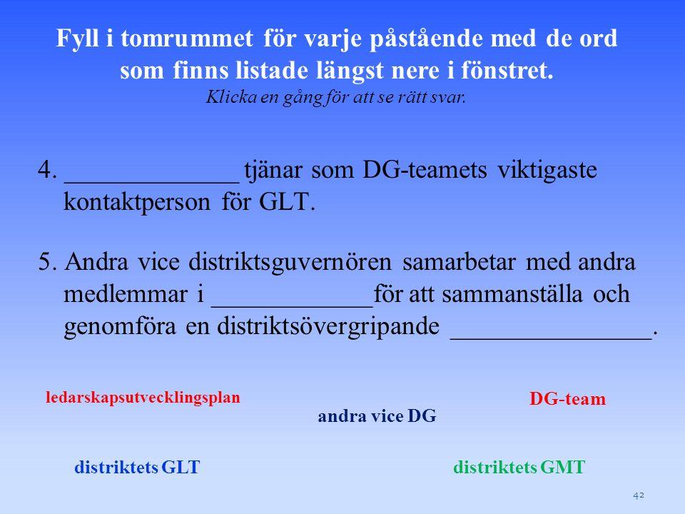 4. _____________ tjänar som DG-teamets viktigaste kontaktperson för GLT.