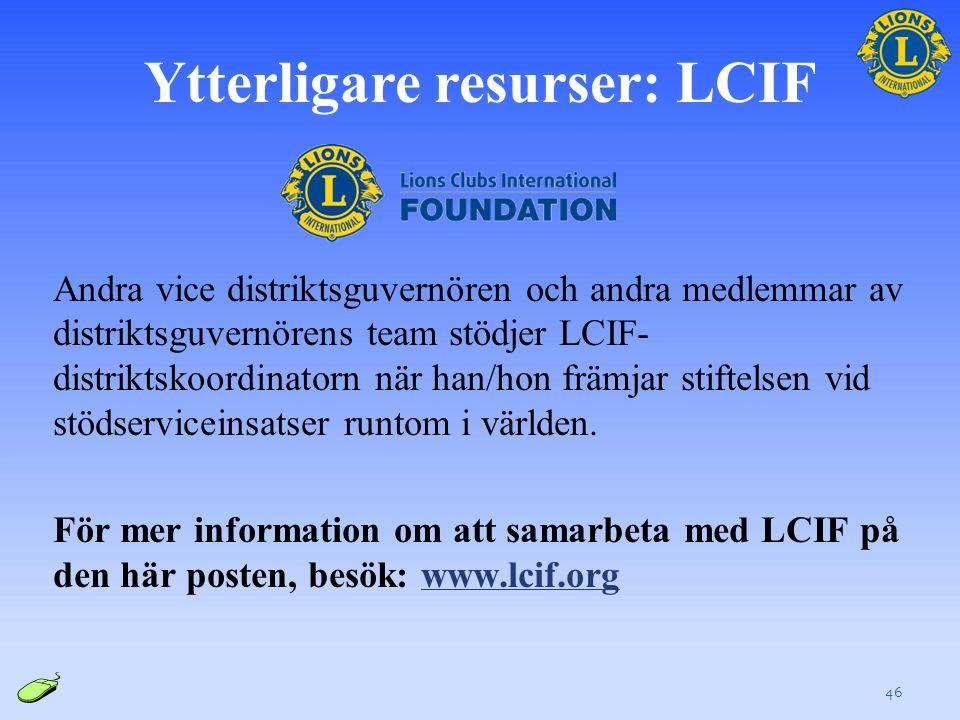 Ytterligare resurser: LCIF Andra vice distriktsguvernören och andra medlemmar av distriktsguvernörens team stödjer LCIF- distriktskoordinatorn när han/hon främjar stiftelsen vid stödserviceinsatser runtom i världen.