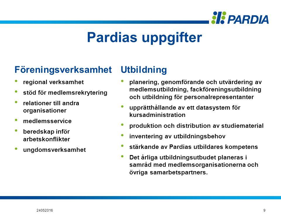 Pardias uppgifter Föreningsverksamhet regional verksamhet stöd för medlemsrekrytering relationer till andra organisationer medlemsservice beredskap in