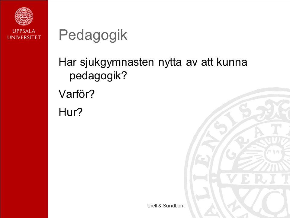 Pedagogik Har sjukgymnasten nytta av att kunna pedagogik Varför Hur Urell & Sundbom