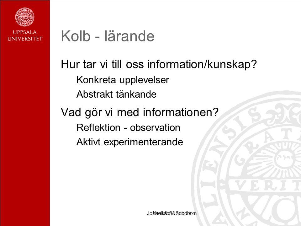 Urell & SundbomJohansson&Sundbom Kolb - lärande Hur tar vi till oss information/kunskap.