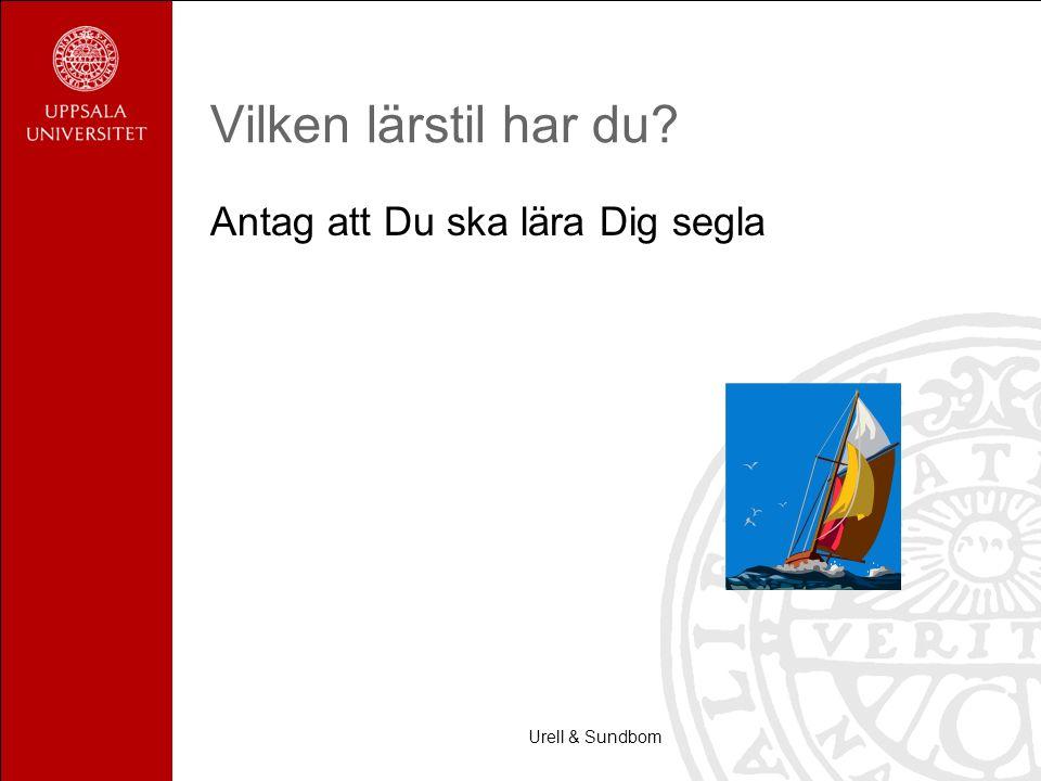 Urell & Sundbom Vilken lärstil har du? Antag att Du ska lära Dig segla