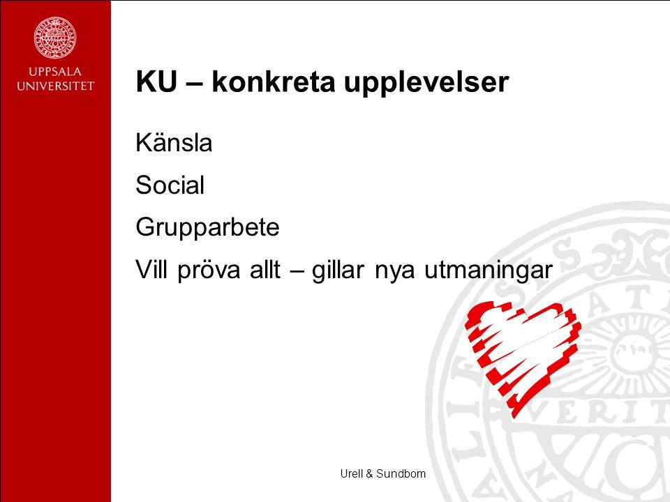 Urell & Sundbom KU – konkreta upplevelser Känsla Social Grupparbete Vill pröva allt – gillar nya utmaningar