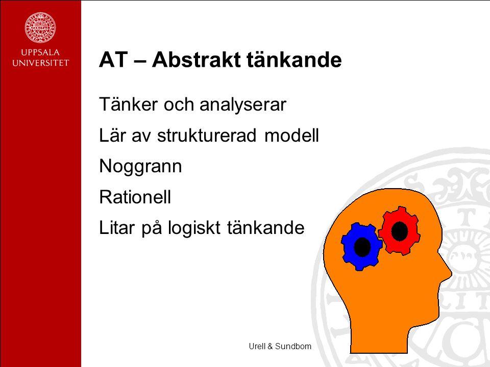 Urell & Sundbom AT – Abstrakt tänkande Tänker och analyserar Lär av strukturerad modell Noggrann Rationell Litar på logiskt tänkande