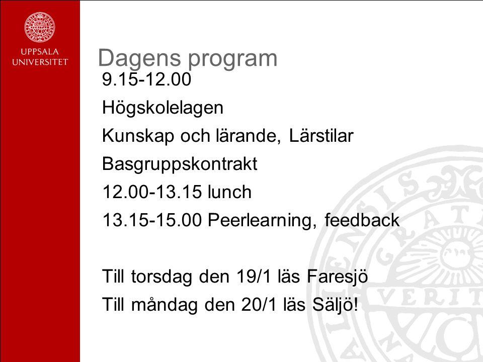 Dagens program 9.15-12.00 Högskolelagen Kunskap och lärande, Lärstilar Basgruppskontrakt 12.00-13.15 lunch 13.15-15.00 Peerlearning, feedback Till torsdag den 19/1 läs Faresjö Till måndag den 20/1 läs Säljö!