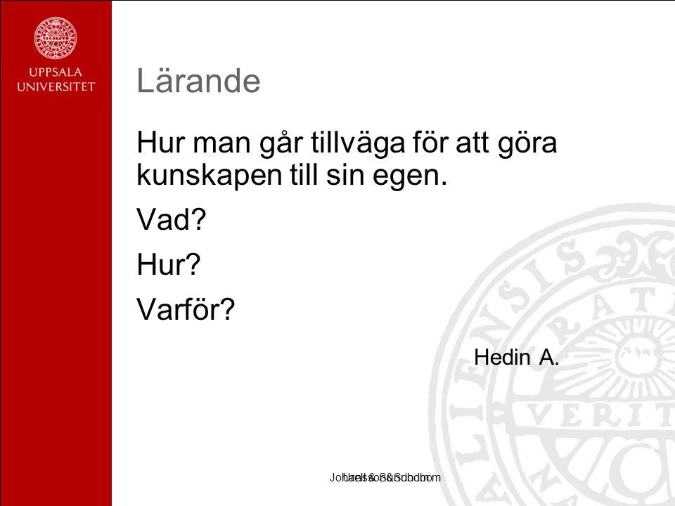 Urell & SundbomJohansson&Sundbom Lärande Hur man går tillväga för att göra kunskapen till sin egen.