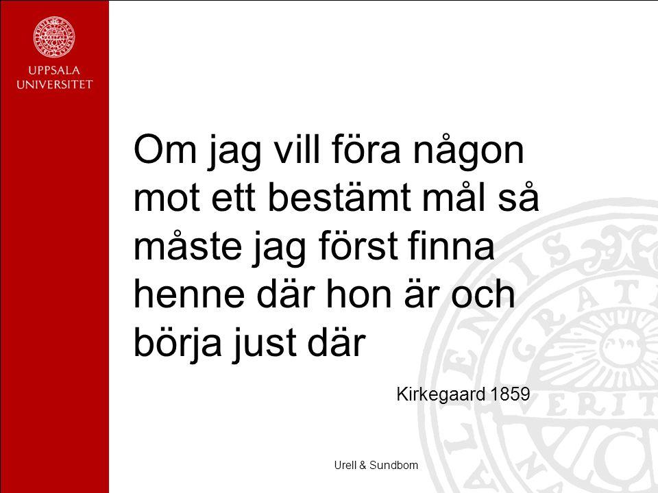 Urell & Sundbom Om jag vill föra någon mot ett bestämt mål så måste jag först finna henne där hon är och börja just där Kirkegaard 1859