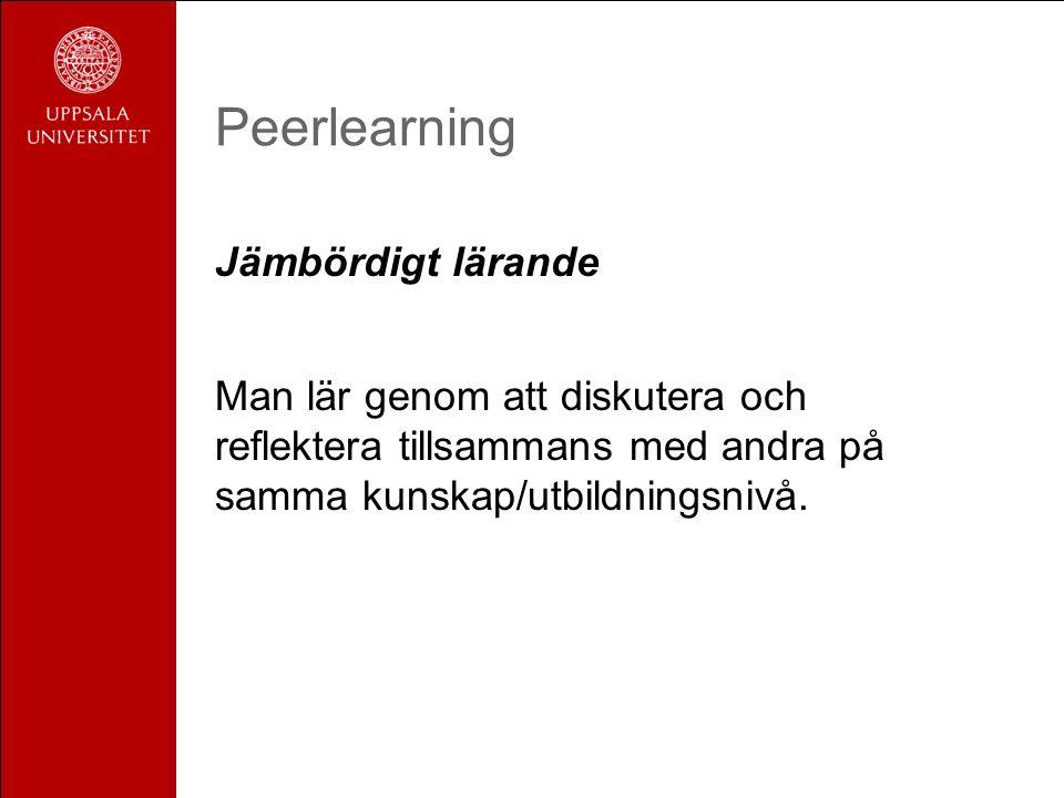 Peerlearning Jämbördigt lärande Man lär genom att diskutera och reflektera tillsammans med andra på samma kunskap/utbildningsnivå.