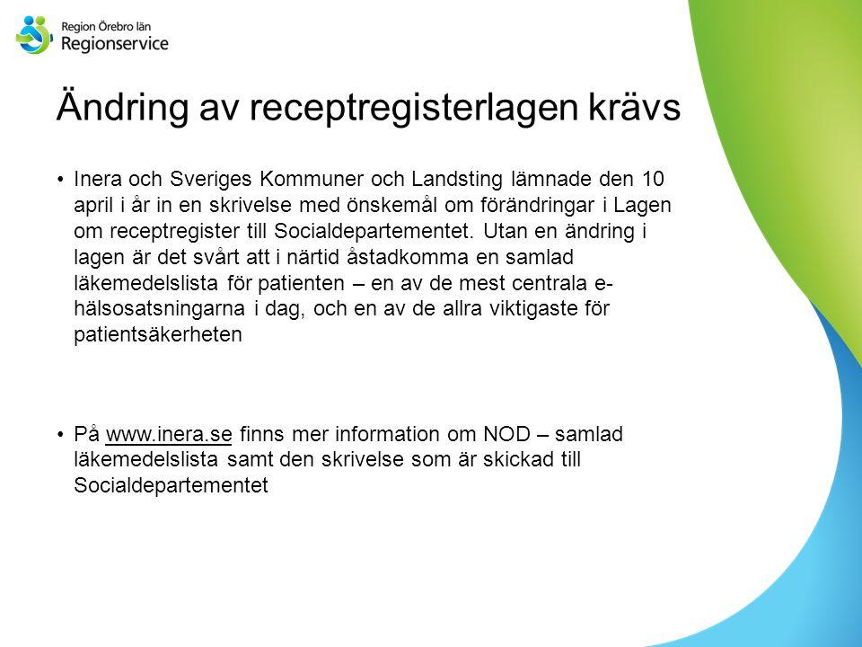 Sv Ändring av receptregisterlagen krävs Inera och Sveriges Kommuner och Landsting lämnade den 10 april i år in en skrivelse med önskemål om förändringar i Lagen om receptregister till Socialdepartementet.