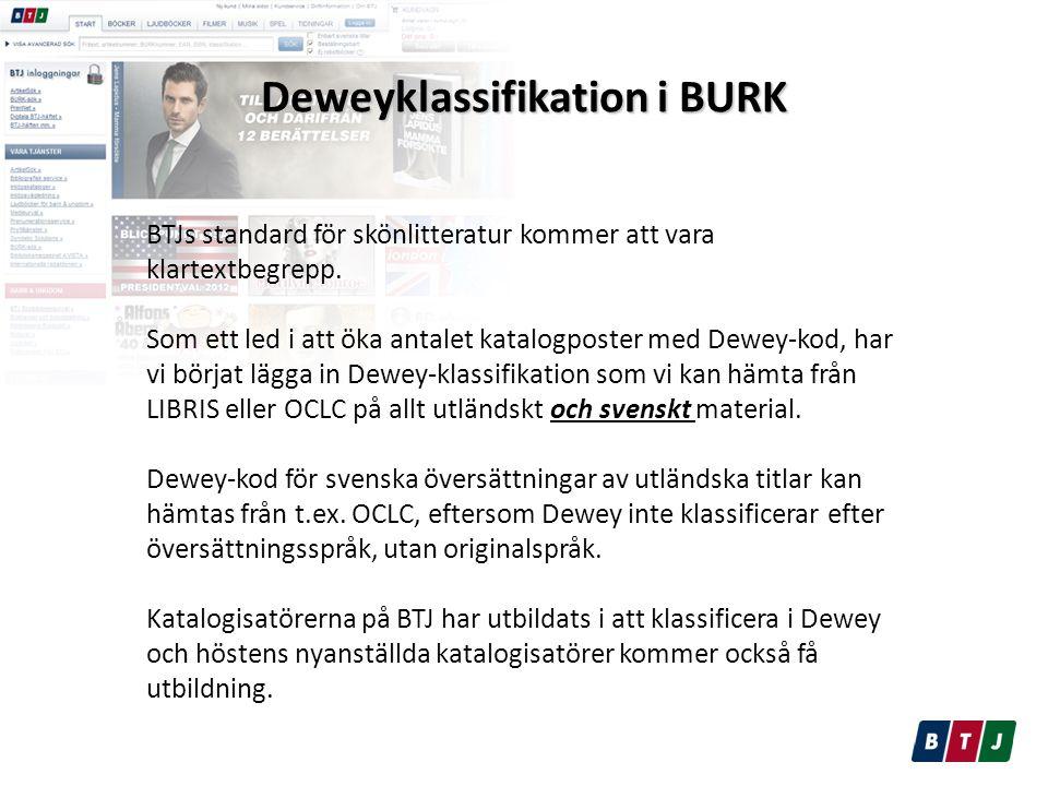 Deweyklassifikation i BURK BTJs standard för skönlitteratur kommer att vara klartextbegrepp.