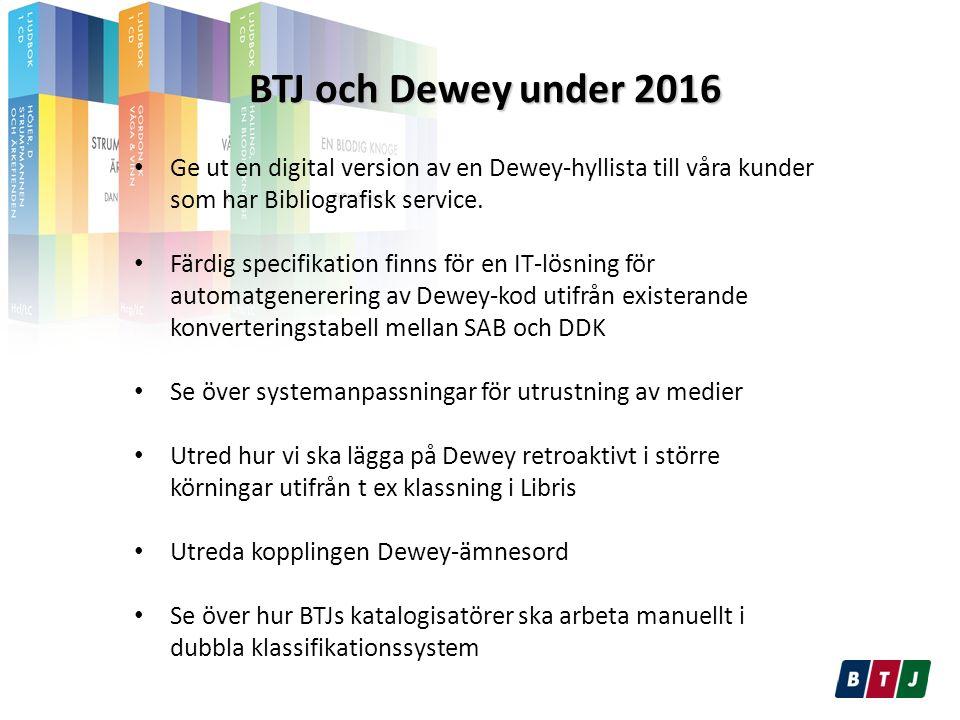 BTJ och Dewey under 2016 BTJ och Dewey under 2016 Ge ut en digital version av en Dewey-hyllista till våra kunder som har Bibliografisk service.