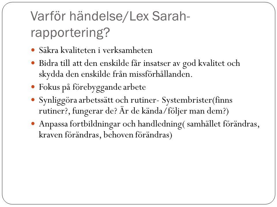 Varför händelse/Lex Sarah- rapportering? Säkra kvaliteten i verksamheten Bidra till att den enskilde får insatser av god kvalitet och skydda den enski