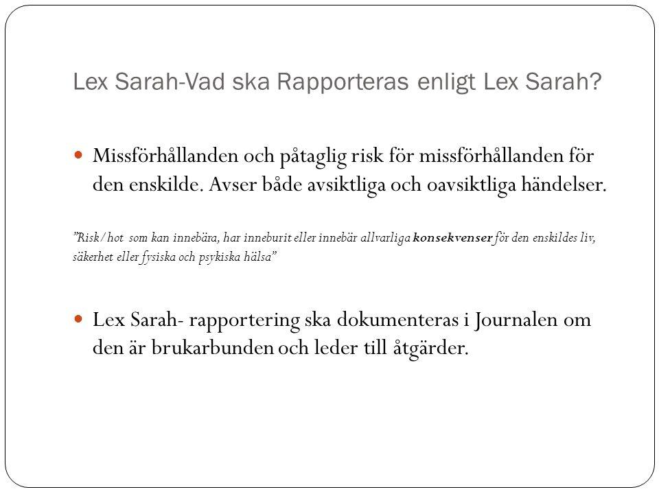 Lex Sarah-Vad ska Rapporteras enligt Lex Sarah? Missförhållanden och påtaglig risk för missförhållanden för den enskilde. Avser både avsiktliga och oa