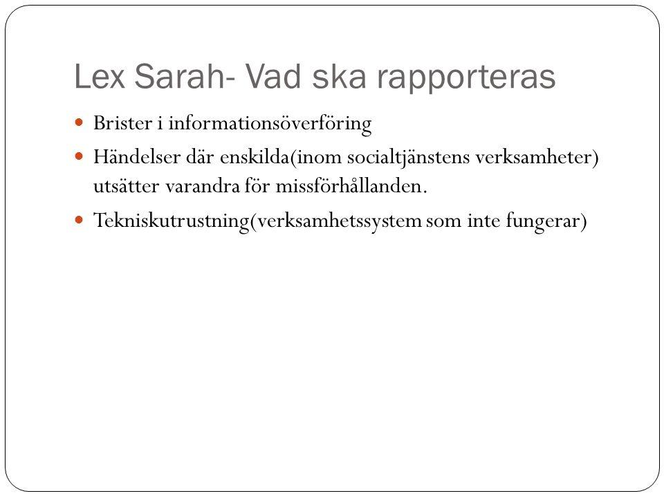Lex Sarah- Vad ska rapporteras Brister i informationsöverföring Händelser där enskilda(inom socialtjänstens verksamheter) utsätter varandra för missfö