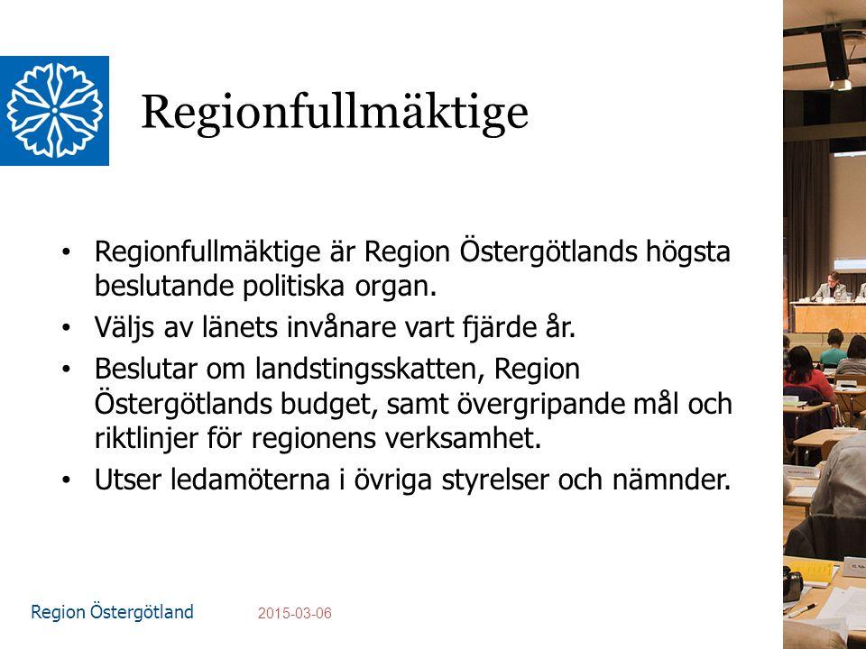 Region Östergötland Regionfullmäktige Regionfullmäktige är Region Östergötlands högsta beslutande politiska organ.