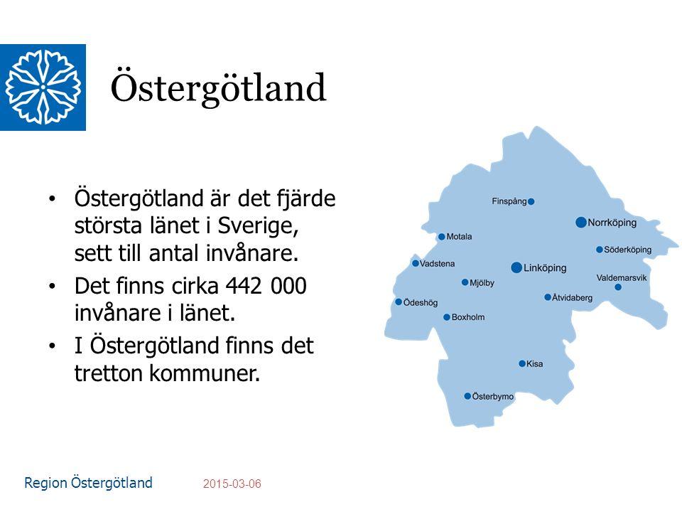 Region Östergötland Östergötland Östergötland är det fjärde största länet i Sverige, sett till antal invånare.