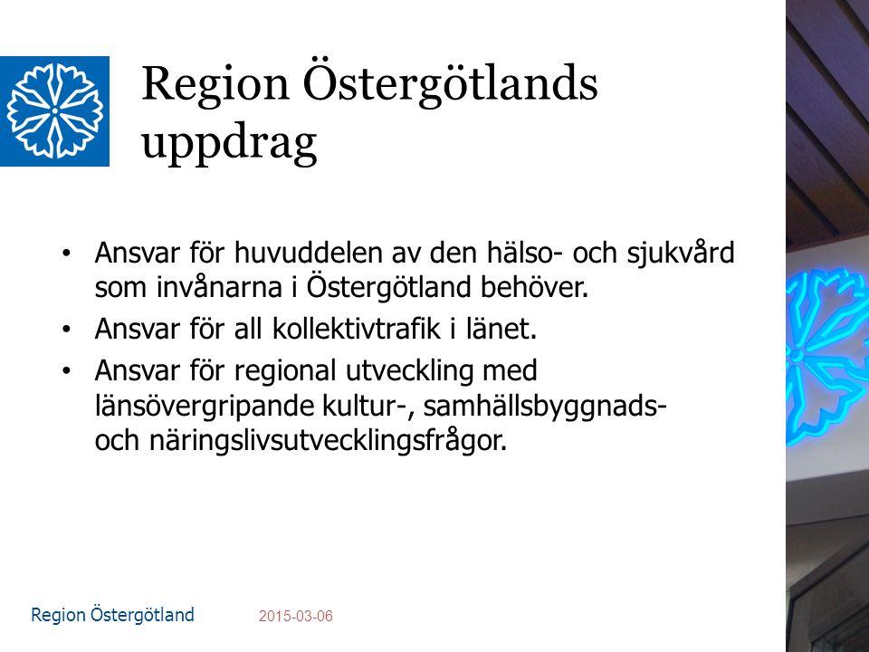 Region Östergötland Region Östergötlands uppdrag Ansvar för huvuddelen av den hälso- och sjukvård som invånarna i Östergötland behöver.