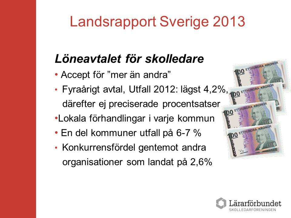 """Landsrapport Sverige 2013 Löneavtalet för skolledare Accept för """"mer än andra"""" Fyraårigt avtal, Utfall 2012: lägst 4,2%, därefter ej preciserade proce"""