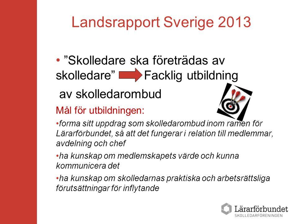 """Landsrapport Sverige 2013 """"Skolledare ska företrädas av skolledare"""" Facklig utbildning av skolledarombud Mål för utbildningen: forma sitt uppdrag som"""