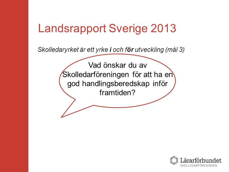 Landsrapport Sverige 2013 Skolledaryrket är ett yrke i och för utveckling (mål 3) Vad önskar du av Skolledarföreningen för att ha en god handlingsbere