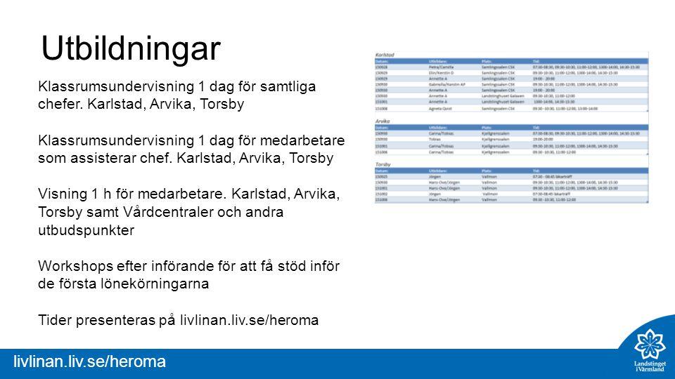 livlinan.liv.se/heroma Utbildningar Klassrumsundervisning 1 dag för samtliga chefer.