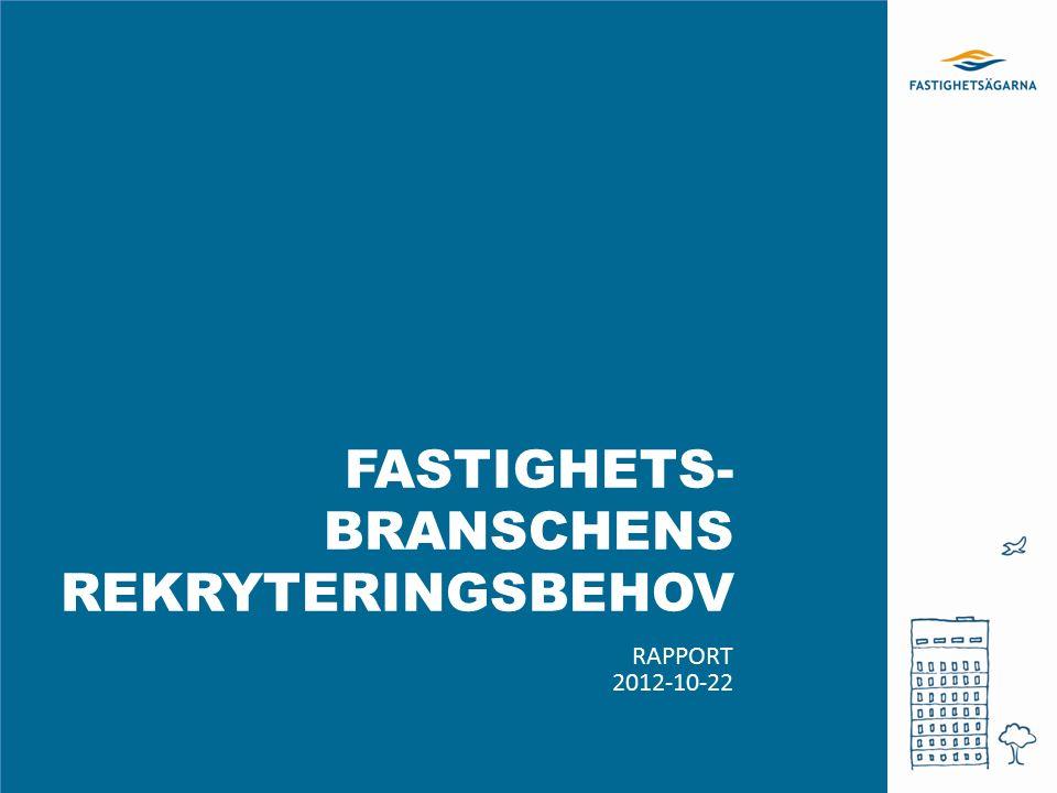 FASTIGHETS- BRANSCHENS REKRYTERINGSBEHOV RAPPORT 2012-10-22