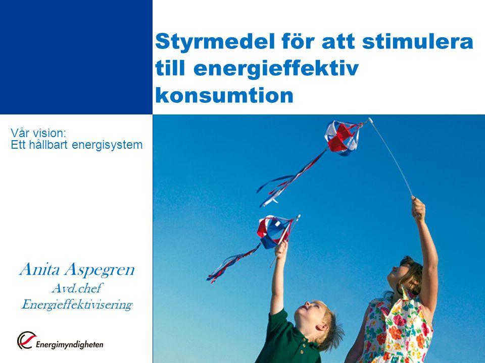 Styrmedel för att stimulera till energieffektiv konsumtion Detta är förstasidan av en presentation Vår vision: Ett hållbart energisystem Anita Aspegren Avd.chef Energieffektivisering