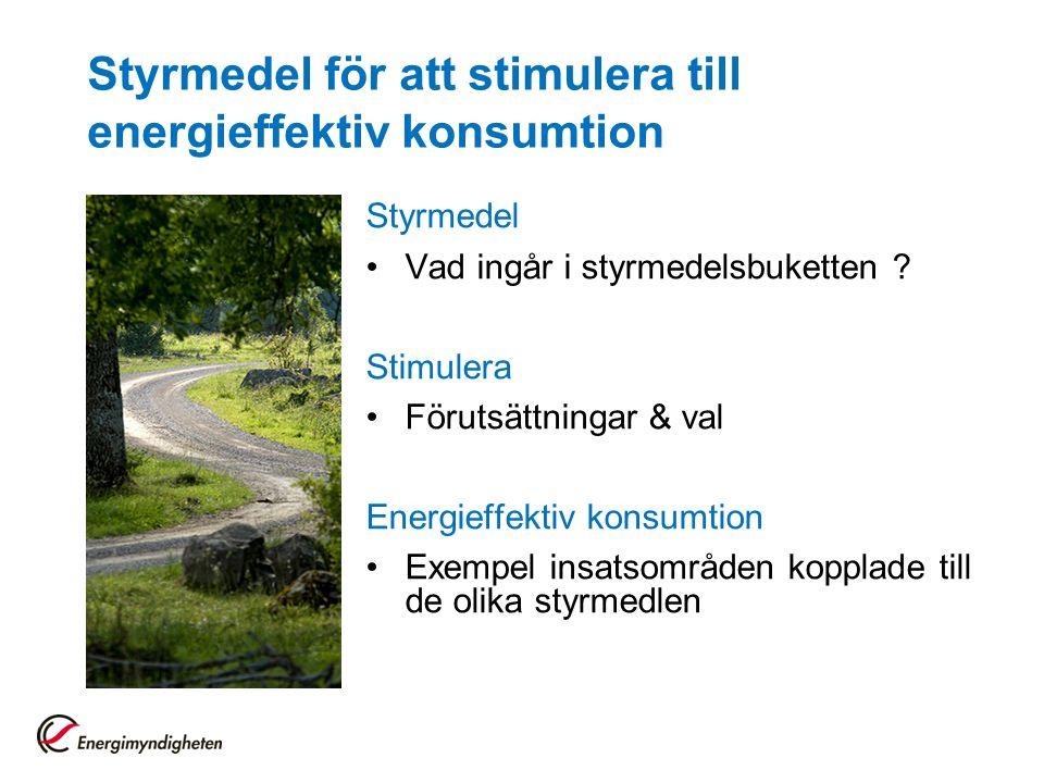 Styrmedel för att stimulera till energieffektiv konsumtion Styrmedel Vad ingår i styrmedelsbuketten .
