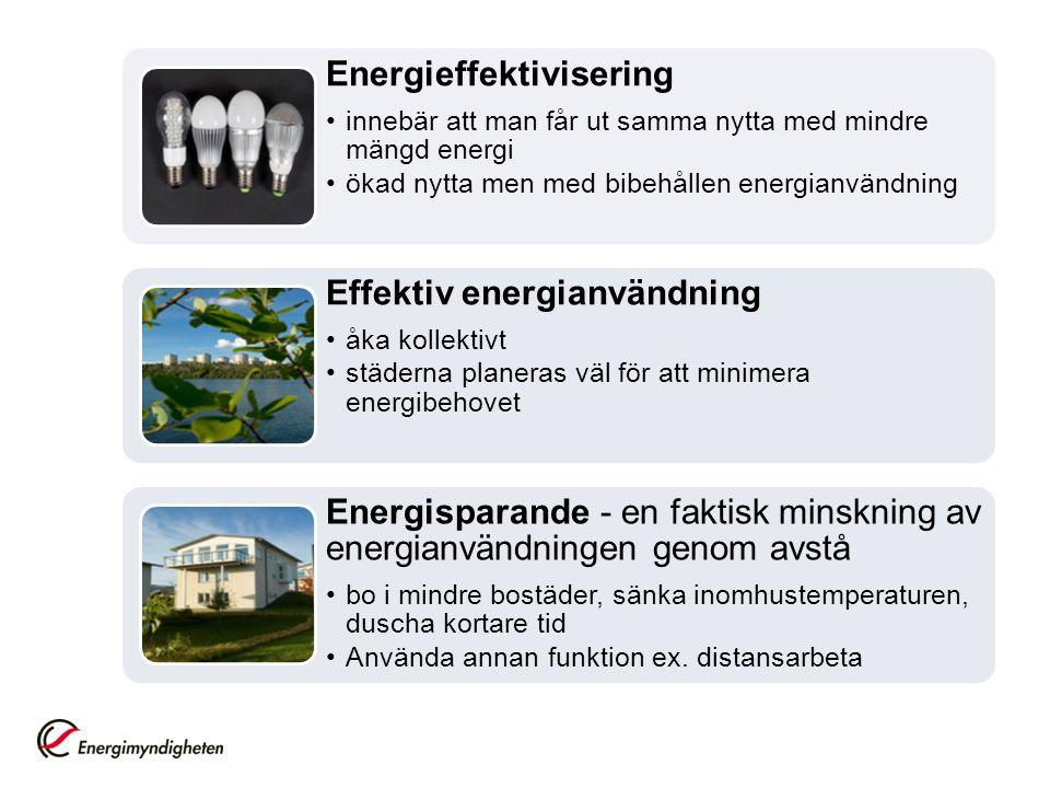 Energieffektivisering innebär att man får ut samma nytta med mindre mängd energi ökad nytta men med bibehållen energianvändning Effektiv energianvändning åka kollektivt städerna planeras väl för att minimera energibehovet Energisparande - en faktisk minskning av energianvändningen genom avstå bo i mindre bostäder, sänka inomhustemperaturen, duscha kortare tid Använda annan funktion ex.