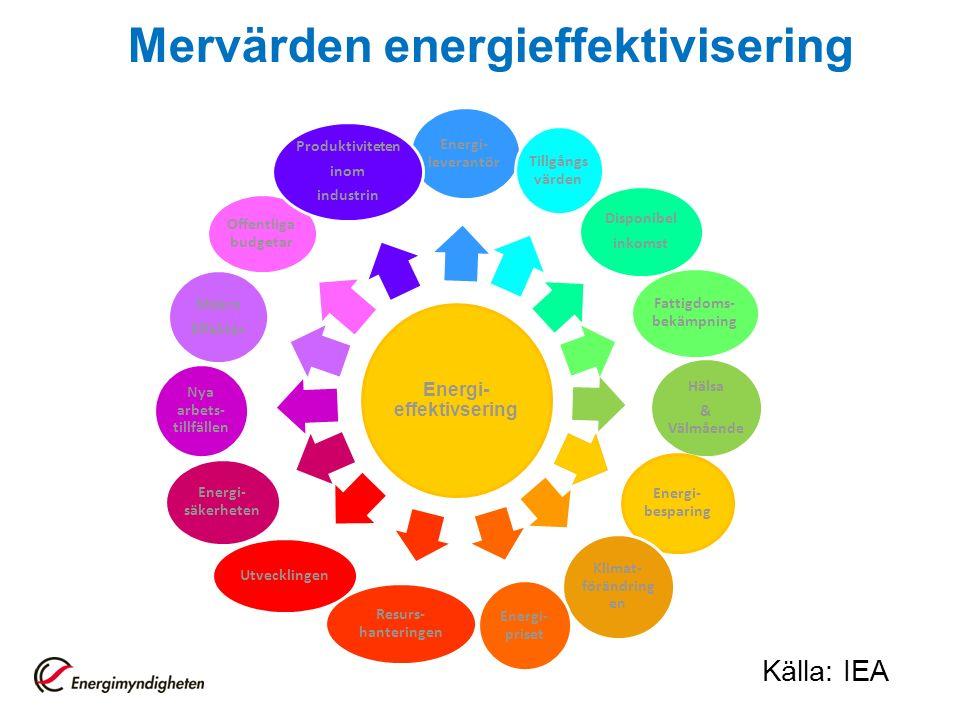 Mervärden energieffektivisering Energi- effektivsering Energi- leverantör Tillgångs värden Disponibel inkomst Fattigdoms- bekämpning Hälsa & Välmående Energi- besparing Klimat- förändring en Energi- priset Resurs- hanteringen Utvecklingen Energi- säkerheten Nya arbets- tillfällen Makro Effekter Offentliga budgetar Produktiviteten inom industrin Källa: IEA
