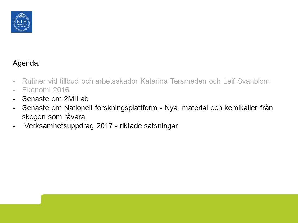 Agenda: -Rutiner vid tillbud och arbetsskador Katarina Tersmeden och Leif Svanblom -Ekonomi 2016 -Senaste om 2MILab -Senaste om Nationell forskningspl