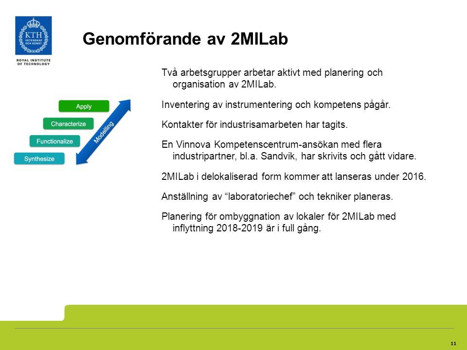 11 Genomförande av 2MILab Två arbetsgrupper arbetar aktivt med planering och organisation av 2MILab. Inventering av instrumentering och kompetens pågå