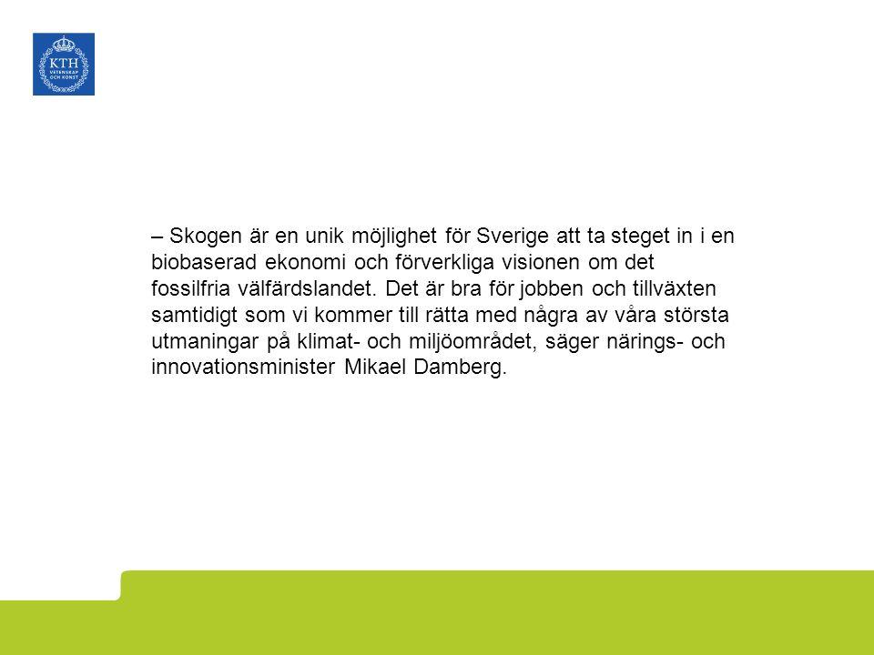 – Skogen är en unik möjlighet för Sverige att ta steget in i en biobaserad ekonomi och förverkliga visionen om det fossilfria välfärdslandet. Det är b