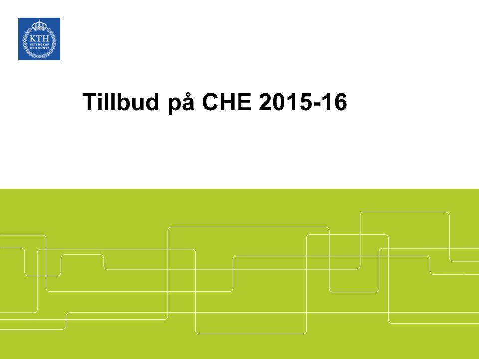Tillbud på CHE 2015-16