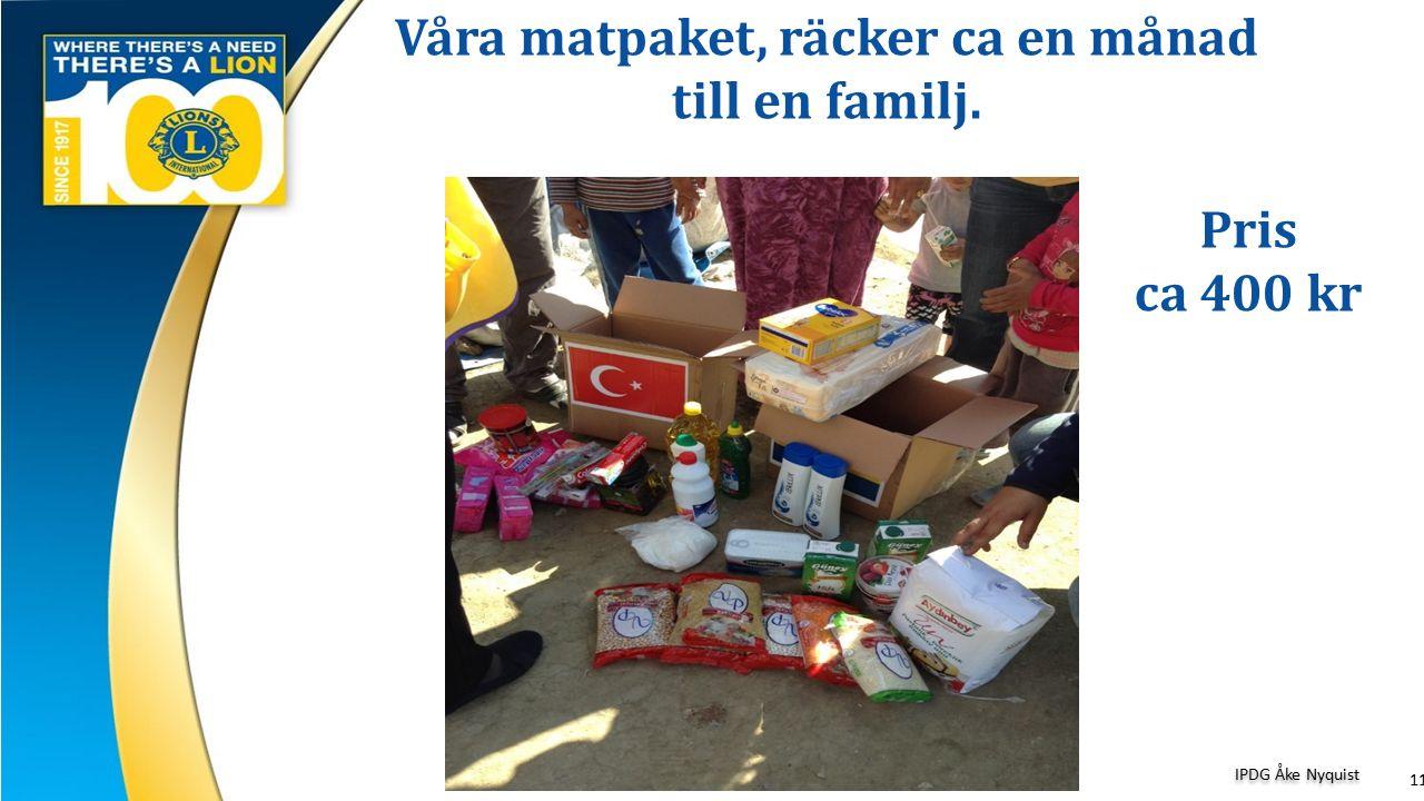 Våra matpaket, räcker ca en månad till en familj. 11 IPDG Åke Nyquist Pris ca 400 kr