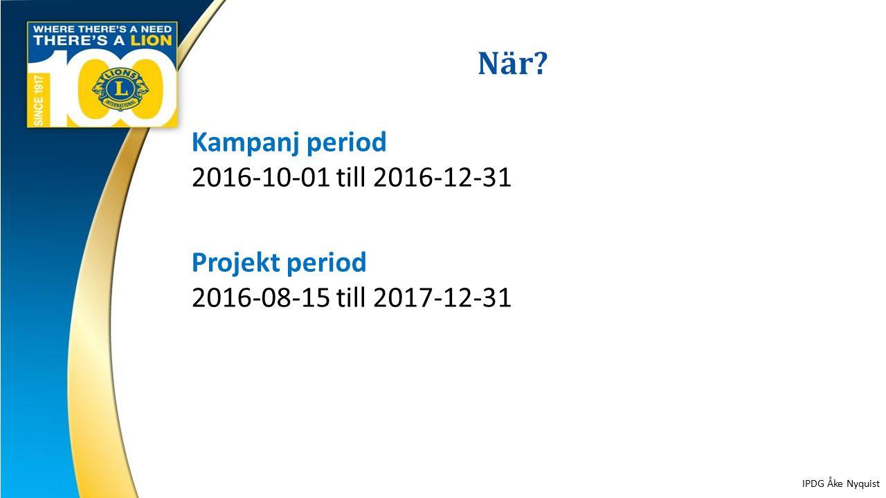 När? 15 Kampanj period 2016-10-01 till 2016-12-31 Projekt period 2016-08-15 till 2017-12-31 IPDG Åke Nyquist