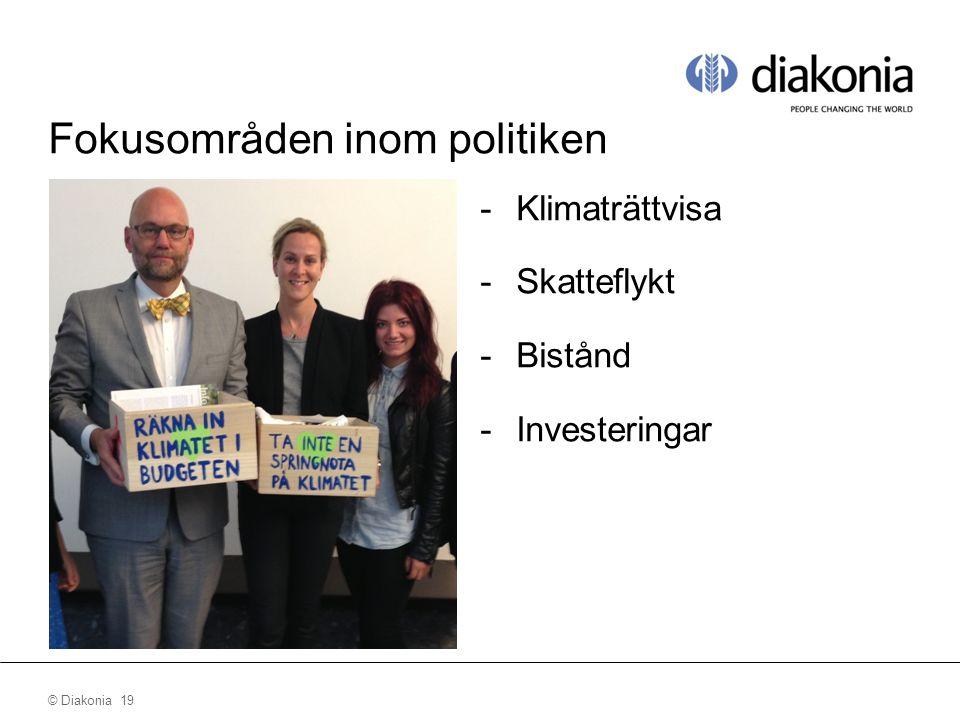 © Diakonia 19 Fokusområden inom politiken -Klimaträttvisa -Skatteflykt -Bistånd -Investeringar