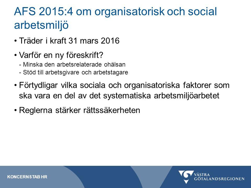 Träder i kraft 31 mars 2016 Varför en ny föreskrift? - Minska den arbetsrelaterade ohälsan - Stöd till arbetsgivare och arbetstagare Förtydligar vilka
