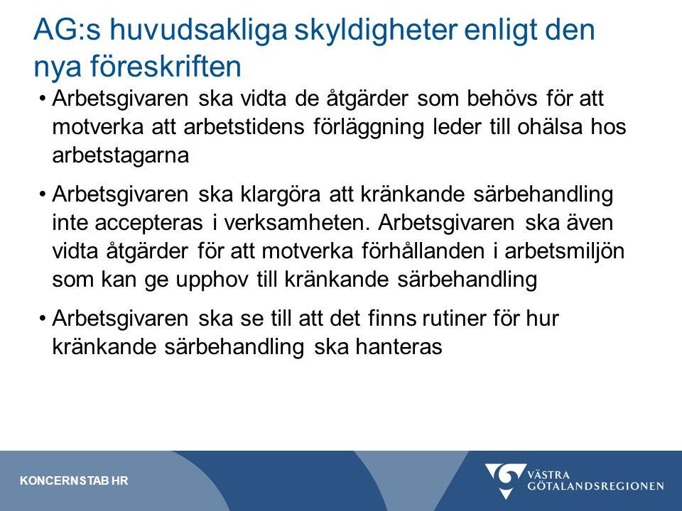 AG:s huvudsakliga skyldigheter enligt den nya föreskriften Arbetsgivaren ska vidta de åtgärder som behövs för att motverka att arbetstidens förläggning leder till ohälsa hos arbetstagarna Arbetsgivaren ska klargöra att kränkande särbehandling inte accepteras i verksamheten.