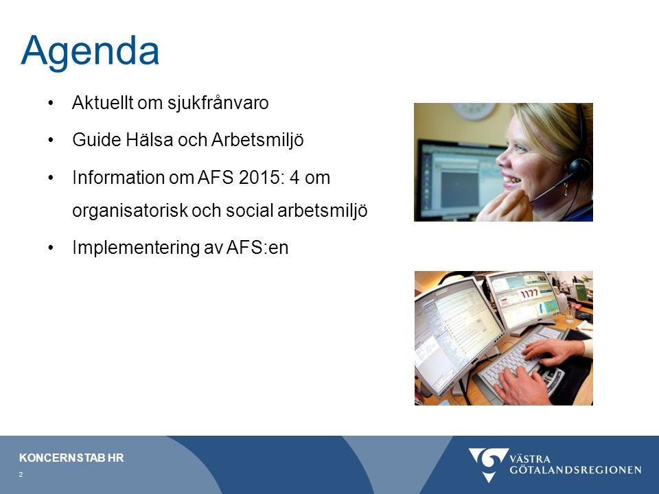 Agenda Aktuellt om sjukfrånvaro Guide Hälsa och Arbetsmiljö Information om AFS 2015: 4 om organisatorisk och social arbetsmiljö Implementering av AFS:en KONCERNSTAB HR 2