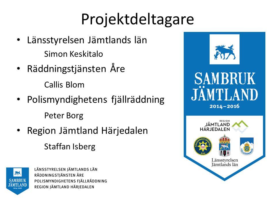 Bakgrund och syfte Projektidé från räddningstjänsten och polisen Projektansökan till Myndigheten för samhällsskydd och beredskap, MSB Åre kommun används som pilotstudie under projektet