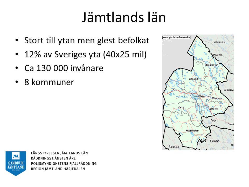 Jämtlands län Stort till ytan men glest befolkat 12% av Sveriges yta (40x25 mil) Ca 130 000 invånare 8 kommuner
