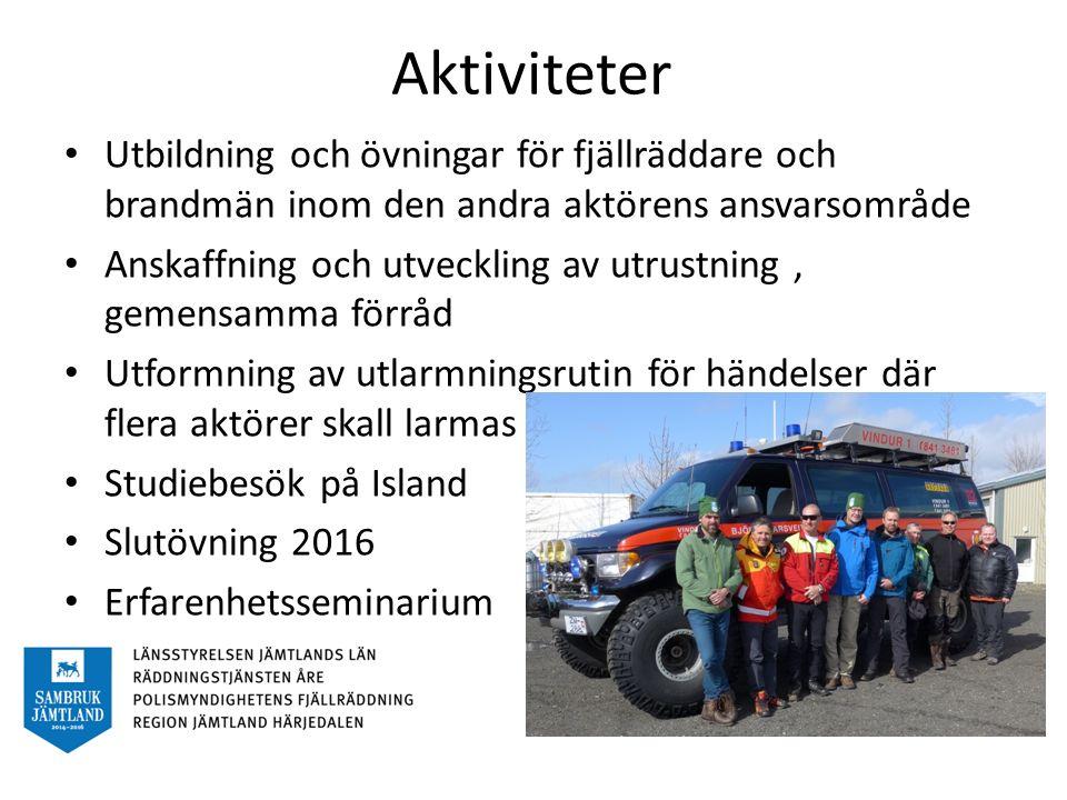 Aktiviteter Utbildning och övningar för fjällräddare och brandmän inom den andra aktörens ansvarsområde Anskaffning och utveckling av utrustning, gemensamma förråd Utformning av utlarmningsrutin för händelser där flera aktörer skall larmas Studiebesök på Island Slutövning 2016 Erfarenhetsseminarium