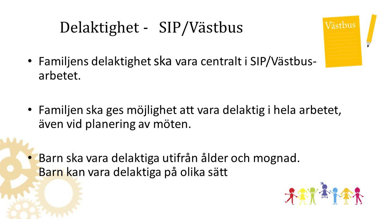 Delaktighet - SIP/Västbus Familjens delaktighet ska vara centralt i SIP/Västbus- arbetet.