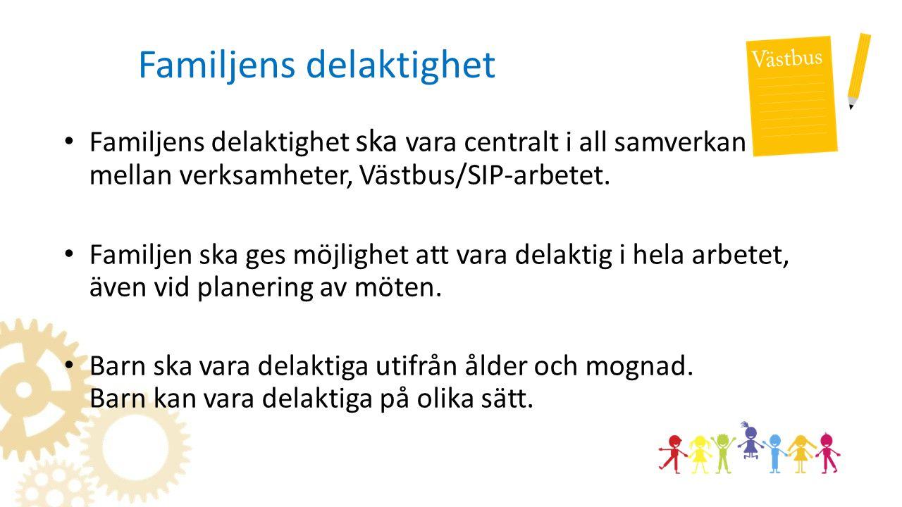 Familjens delaktighet Familjens delaktighet ska vara centralt i all samverkan mellan verksamheter, Västbus/SIP-arbetet.