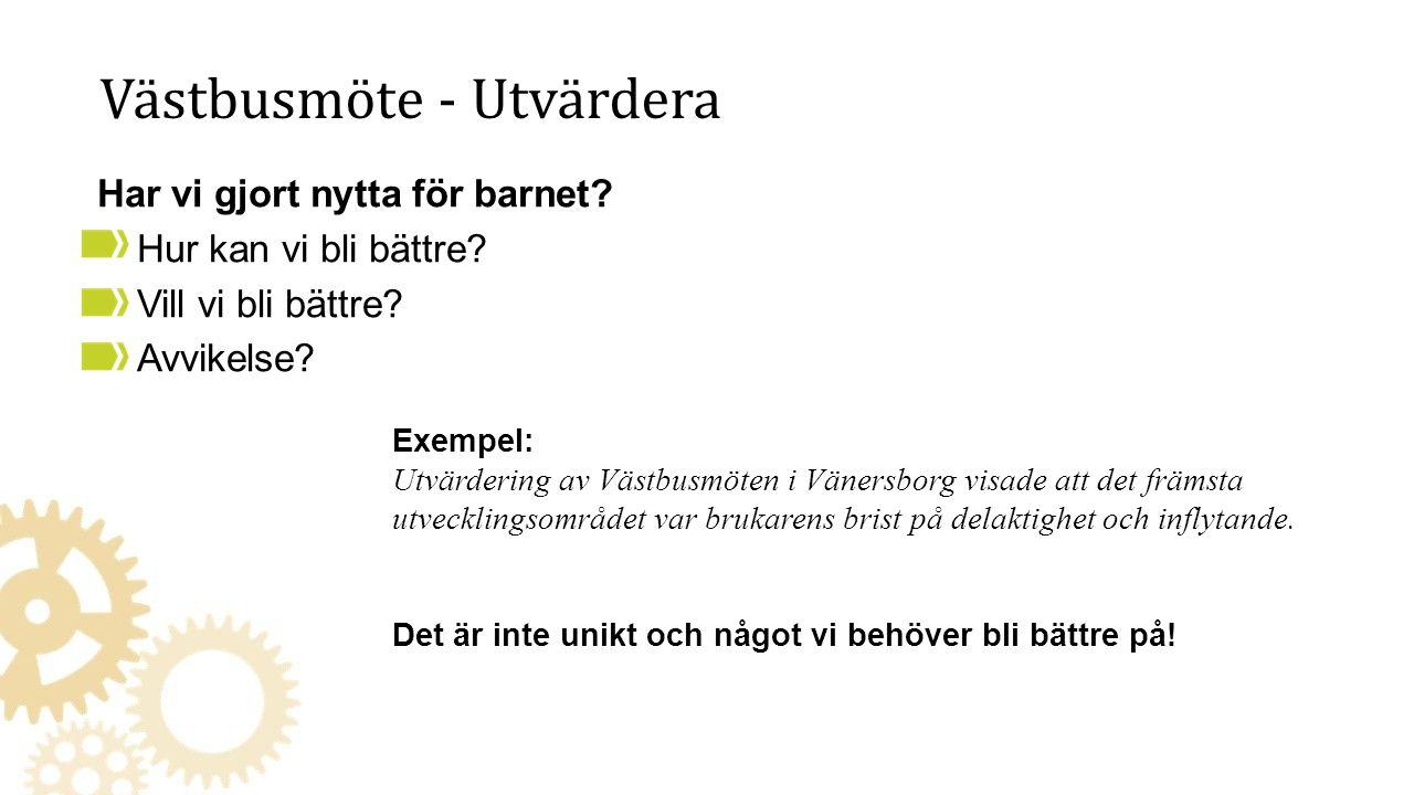 Västbusmöte - Utvärdera Exempel: Utvärdering av Västbusmöten i Vänersborg visade att det främsta utvecklingsområdet var brukarens brist på delaktighet och inflytande.